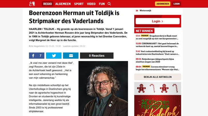 De Gelderlander: Boerenzoon Herman uit Toldijk is Stripmaker des Vaderlands